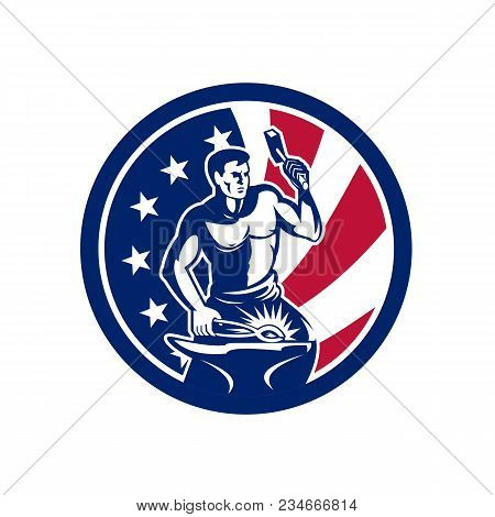 Icon Retro Style Illustration Of An American Blacksmith Or Farrier Holding Hammer And Anvil United S