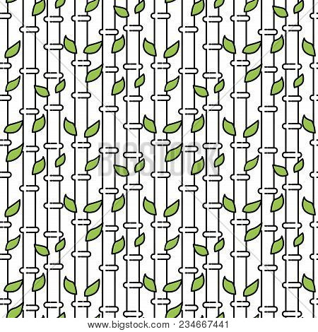 Bamboo Vector Tree Stem Seamless Pattern Illustration Isolated On White.