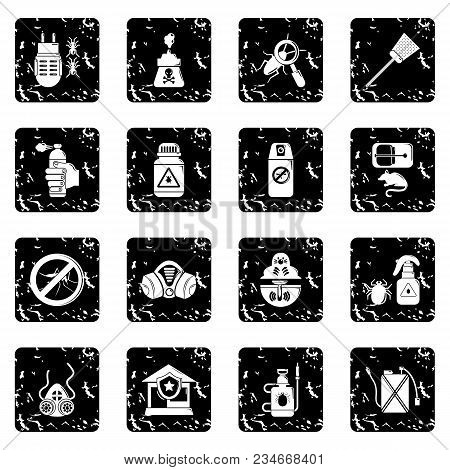 Pest Control Tools Icons Set Vector Grunge Isolated On White Background