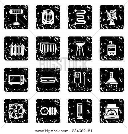 Heat Cool Air Flow Tools Icons Set Vector Grunge Isolated On White Background