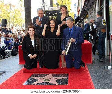 LOS ANGELES - APR 3:  Les Moonves, Patty Jenkins, Official, Lynda Carter, Leron Gubler at the Lynda Carter Star Ceremony on the Hollywood Walk of Fame on April 3, 2018 in Los Angeles, CA