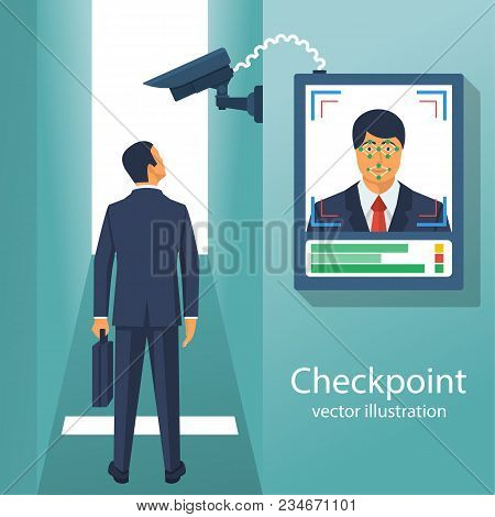 Checkpoint With A Surveillance Camera And System For The Identification Of Persons. Businessman Iden