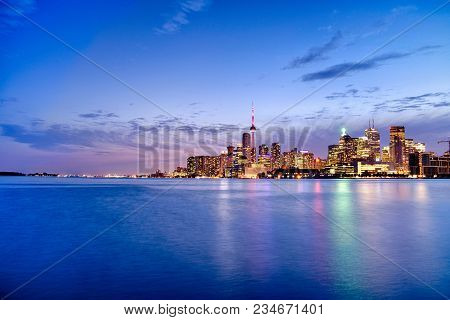 Skyline Of Toronto In Canada From The Lake Ontario