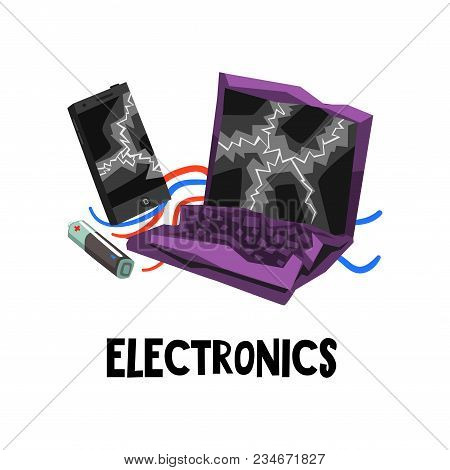 Electronic Waste Or E-waste Old Used Battery, Broken Laptop And Smartphone. Graphic Design For Poste