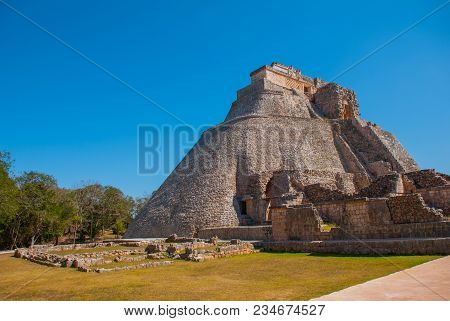 Pyramid Of Uxmal, An Ancient Maya City Of The Classical Period. One Of The Most Important Archaeolog