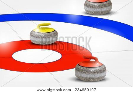 Curling Stones On Ice Rings - Detail From Curling Sport. Vector Illustration.