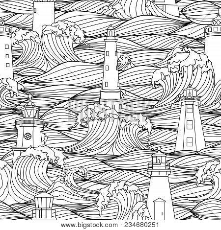 Lighthouse Among The Storm Waves. Graphic Vector Seamless Pattern. Coloring Book Page Design For Adu