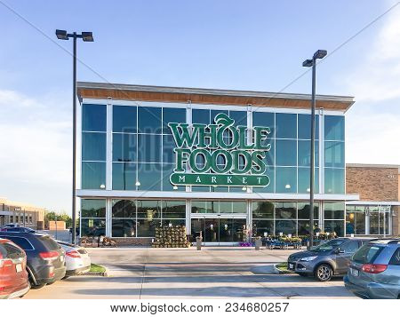 Exterior Facade Of Whole Foods Market Store In Irving, Texas, Usa