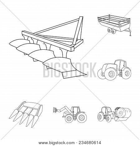 Agricultural Machinery Outline Icons In Set Collection For Design. Equipment And Device Vector Symbo