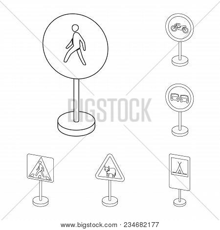 Different Types Of Road Signs Outline Icons In Set Collection For Design. Warning And Prohibition Si