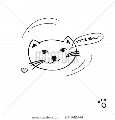 Pretty Kitten With Lettering - Meow. Vector Cute Fashion Cat Illustration And Text On A White Backgr