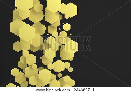 Yellow Hexagons Of Random Size On Black Background