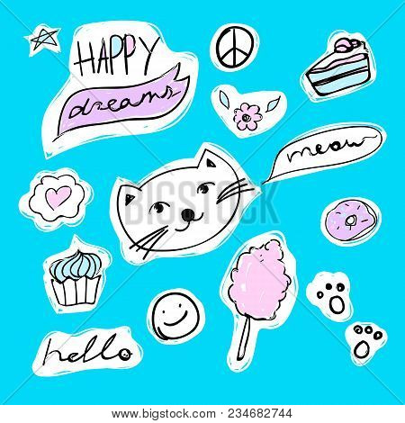 Set Of Fashion Stickers With Unicorn, Heart, Ice-cream And Star. Vector Cartoon Illustration With Ra