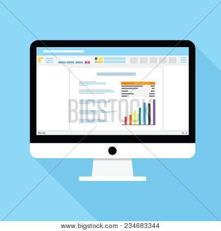 Desktop Document Icon. Text Editor On Computer Screen Vector Illustration.