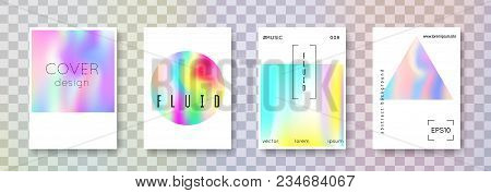 Fluid Poster Set. Abstract Backgrounds. Bright Fluid Poster With Gradient Mesh. 90s, 80s Retro Style
