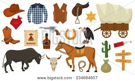 Wild West Vector Western Cowboy Or Sheriff Signs Hat Or Horseshoe In Wildlife Desert With Cactus Ill