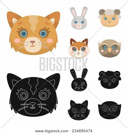 Cat, Rabbit, Fox, Sheep. Animal Muzzle Set Collection Icons In Cartoon, Black Style Vector Symbol St