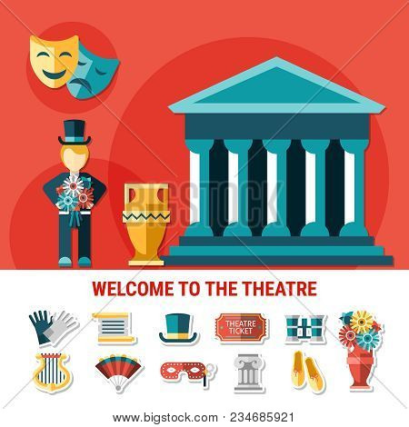 Theatre Flat Colored Composition With Isolated Icon Set Combined In Welcome To Theatre Flyer Vector