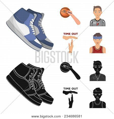 Basketball And Attributes Cartoon, Black Icons In Set Collection For Design.basketball Player And Eq