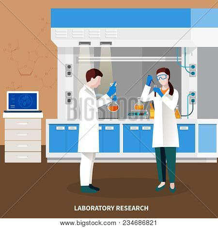 Scientists People Multicolored Composition With Laboratory Research Headline And Two Researchers At
