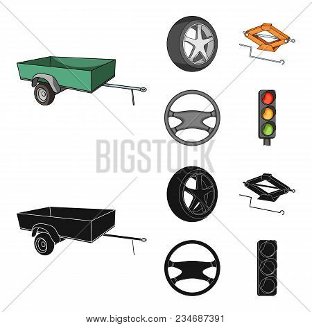 Caravan, Wheel With Tire Cover, Mechanical Jack, Steering Wheel, Car Set Collection Icons In Cartoon