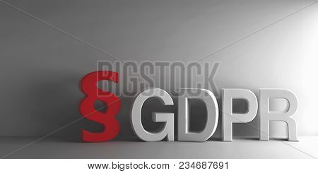 Red Paragraph Sign And White Word Gdpr - General Data Protection Regulation - On Grey Background, Th