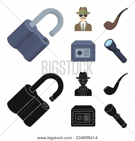 Lock Hacked, Safe, Smoking Pipe, Private Detective.detective Set Collection Icons In Cartoon, Black