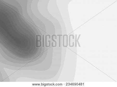 Abstract Grey And White Topographic Contours Lines Of Mountains. Topography Map Art Curve Line Drawi