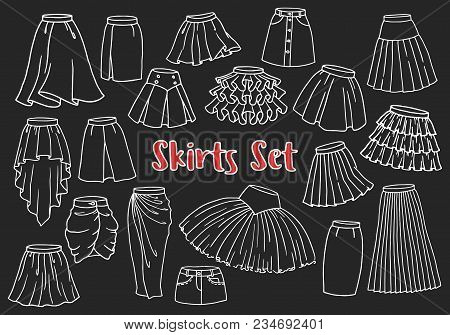 a7ad7b95f3235 Hand drawn women skirts set. Doodle pen line symbols of chic ladies clothes  isolated on white. Graphic design elements for sale poster, shopping flyer,  ...
