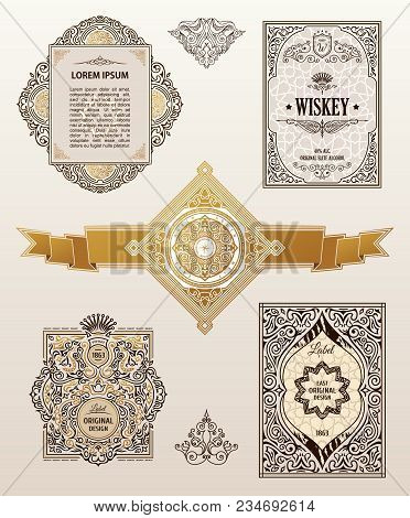 Vintage Golden Vector Set Retro Cards. Template Greeting Card Wedding Invitation. Line Calligraphic