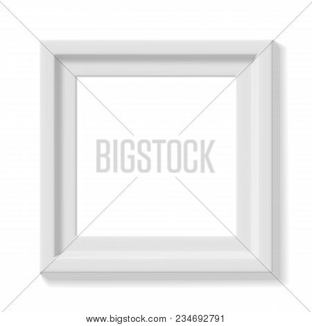White Square Picture Frame. Wide Frame Or Small Picture. Minimalistic Photo Realistic Frame. Graphic