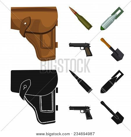 Holster, Cartridge, Air Bomb, Pistol. Military And Army Set Collection Icons In Cartoon, Black Style