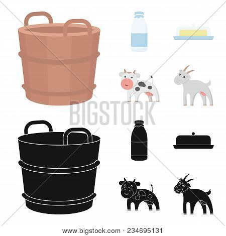 A Barrel Of Milk, Butter, A Cow. Milk Set Collection Icons In Cartoon, Black Style Vector Symbol Sto
