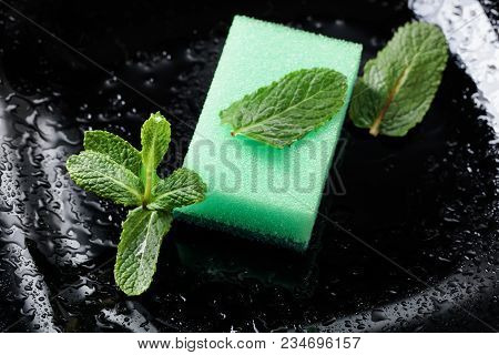 Black Plate And Dish Sponge . Mint Branch . Conceptual Image On The Theme Of Purity And Freshness .
