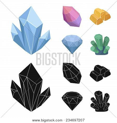 Crystals, Minerals, Gold Bars. Precious Minerals And Jeweler Set Collection Icons In Cartoon, Black