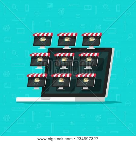 Marketplace Online Store Vector Illustration, Flat Cartoon Internet Multivendor Shop On Laptop Compu