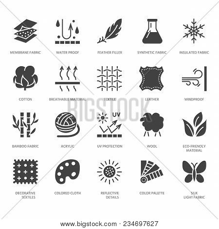 Fabric Feature, Clothes Material Vector Flat Glyph Icons. Garment Property Symbols. Cotton Wool, Wat