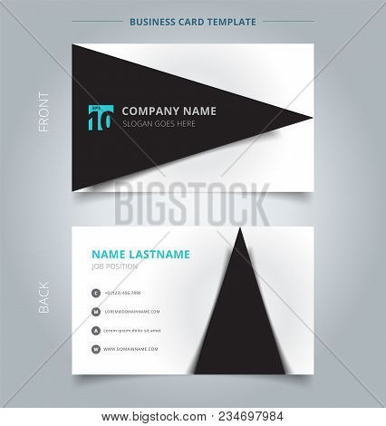 Creative Business Card And Name Card Template, Black Triangle Graphic With Shadow On White Color Bac