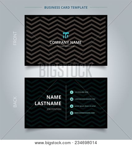 Creative Business Card And Name Card Template, Chevron Pattern On Black Color Background And Texture
