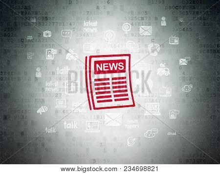 News Concept: Painted Red Newspaper Icon On Digital Data Paper Background With  Hand Drawn News Icon