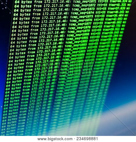 Ping Of Site Using Unix Bash Shell. Green Code In Command Line Interface. Blue Space Background
