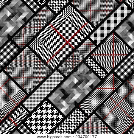 Seamless Vector Pattern. Patchwork Of Classic Glen Plaid Patterns. Vector Image. Vector Image.