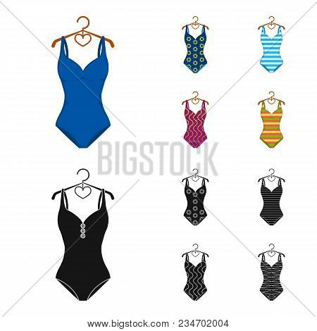 Different Kinds Of Swimsuits. Swimsuitsset Collection Icons In Cartoon, Black Style Vector Symbol St