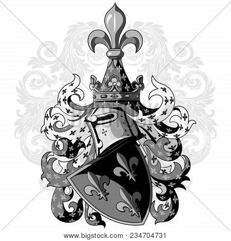 Knightly Coat Of Arms. Heraldic Medieval Knight Helmet, Shield And Medieval Knight Ornament, Isolate