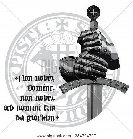Knight Design. Armour Gloves Of The Knight, Shield And The Sword Of The Crusader, Isolated On White,
