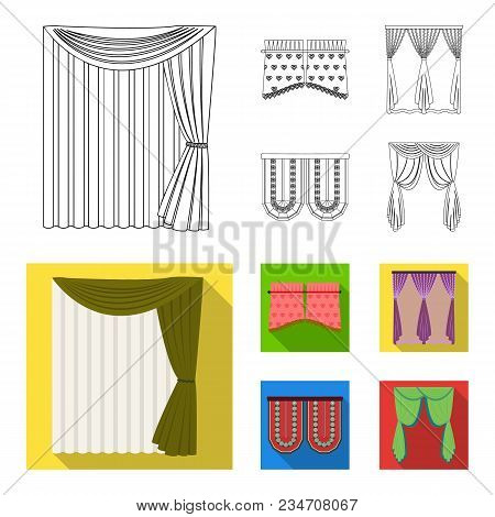 Curtains, Stick, Cornices, And Other  Icon In Outline, Flat Style.bow, Fabric, Tulle Icons In Set Co