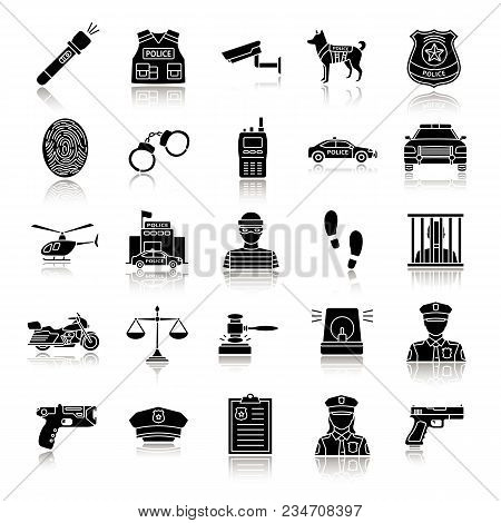 Police Drop Shadow Black Glyph Icons Set. Law Enforcement. Transport, Protection Equipment, Weapon.