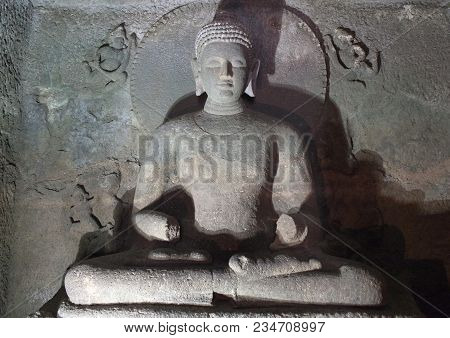 Ancient Buddha Statue In Ajanta Caves, India. The Ajanta Caves In Maharashtra State Are About 30 Roc