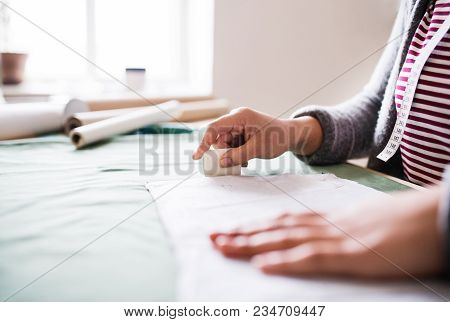Unrecognizable Creative Woman Working In A Studio, Startup Business.