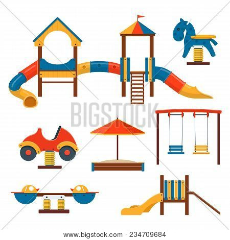 Outdoor Playground Equipment. Vector Illustration Of Swings, Slides, Playhouses And Spring Ride
